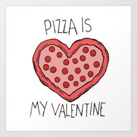Valentine Pizza Art Print