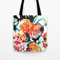 Brush Floral Tote Bag