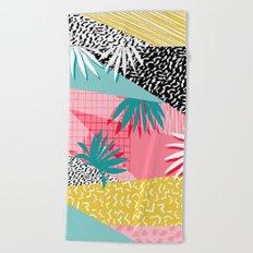 Bingo - throwback retro memphis neon tropical socal desert festival trendy hipster pattern pop art  Beach Towel