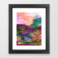 BRING ON BOHEMIA 1 Bold Rainbow Colorful Watercolor Abstract Metallic Accent Summer Peach Pink Green Framed Art Print