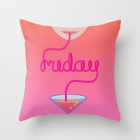 friday cocktail lettering Throw Pillow
