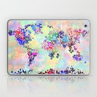 World Map Floral Laptop & iPad Skin