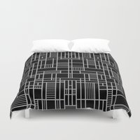 Map Lines Silver Duvet Cover