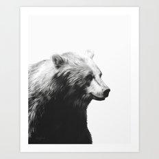 Bear // Calm (Black + Wh… Art Print