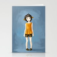 Girl In Shorts Stationery Cards