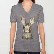 Unisex V-Neck featuring Little Rabbit by Amy Hamilton