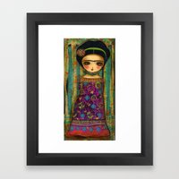 Frida In A Purple And Bl… Framed Art Print