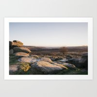 Owler Tor rock formations at sunset. Derbyshire, UK. Art Print