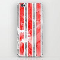 Watercolour Stripe - Red iPhone & iPod Skin