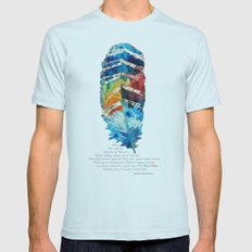 Colorful Feather Art -  Blessing - By Sharon Cummings Mens Fitted Tee Light Blue SMALL