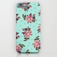 Pink Roses On Blue iPhone 6 Slim Case