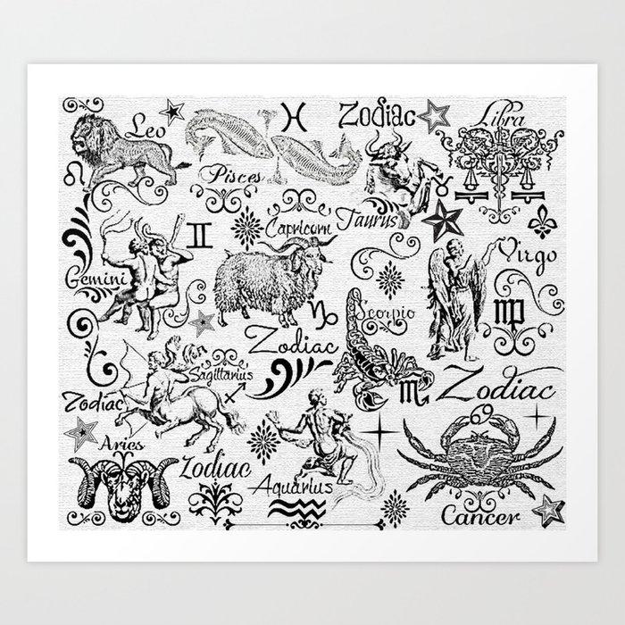 Zodiac canvas calligraphy art print by blue velvet designs