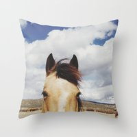 Cloudy Horse Head Throw Pillow