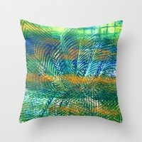 Gold swipes in the green blue Throw Pillow