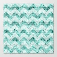 Teal Wood Chevron  Canvas Print