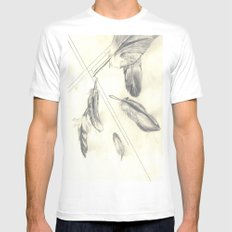 Feathers White SMALL Mens Fitted Tee