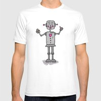 Robot Mens Fitted Tee White SMALL