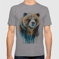 Grizzly bear  Mens Fitted Tee Athletic Grey SMALL