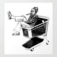 Grandma Shopping Cart Su… Art Print