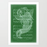 Dont Be Koi (green And W… Art Print