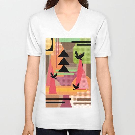 3 Flew Over. V-neck T-shirt
