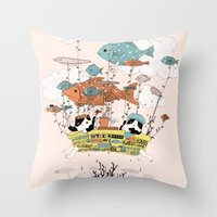 Bathtub Trip Throw Pillow
