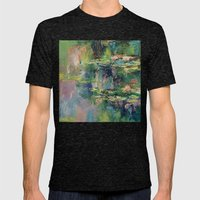 Water Lilies Mens Fitted Tee Tri-Black SMALL
