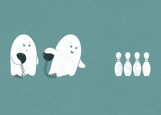 Bowling Ghost Art Print
