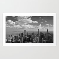 chicago Art Prints featuring chicago... by Chernobylbob