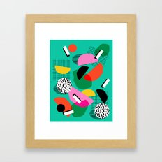 Flange - memphis inspired pop art retro throwback 1980s neon style art print decor hipster socal Framed Art Print