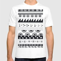 Tribal Pattern Mens Fitted Tee White SMALL