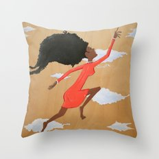 Floating Fro Woman Throw Pillow