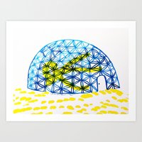 How to get out from the igloo / Cómo salir del igloo  Art Print