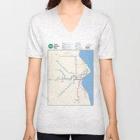 Milwaukee Transit System Map Unisex V-Neck