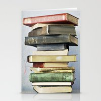 Stacked Vintage Books Stationery Cards