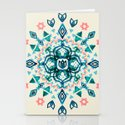 Watercolor Lotus Mandala in Teal & Salmon Pink Stationery Cards