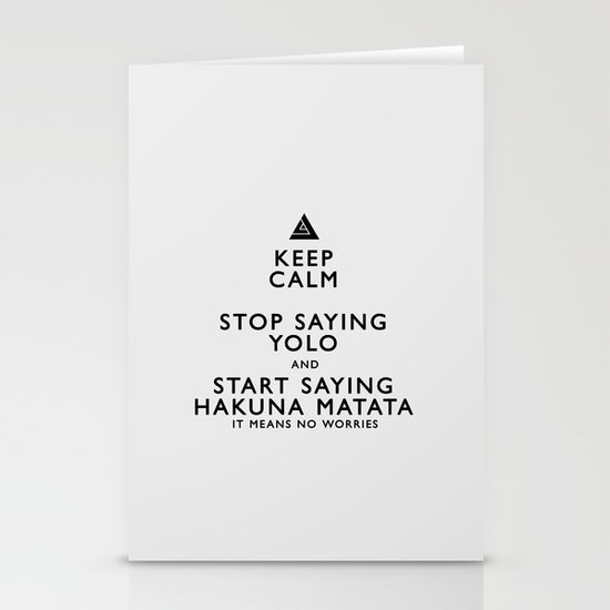 Keep Calm Forget YOLO - BLACK Stationery Card