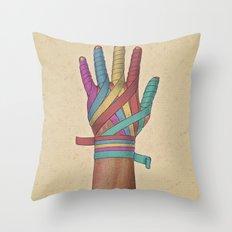 Mano vendada Throw Pillow