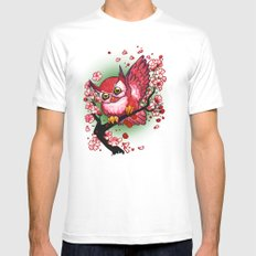 Cherry Owl Mens Fitted Tee White SMALL