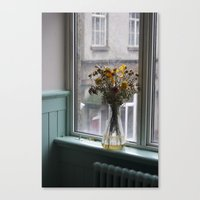 Canvas Print featuring The Scottish Vase Full Of Flowers by Elise Tyv