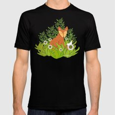 Fox in the Daisies Mens Fitted Tee Black SMALL
