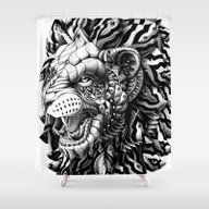 Shower Curtain featuring Lion by BIOWORKZ