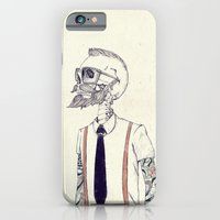 iPhone Cases featuring The Gentleman becomes a Hipster  by Mike Koubou