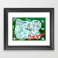 Map Of Oregon Framed Art Print