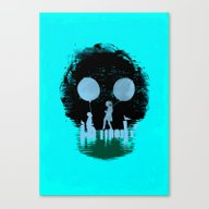 Canvas Print featuring Bye Bye Apocalypse (red … by Budi Kwan