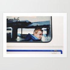 Man in tram, Goteborg Sweden winter 2012 Art Print