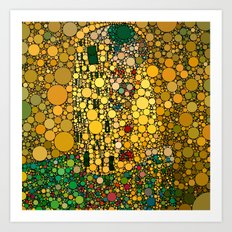 If Klimt The Kiss was painted with bubbles  Art Print