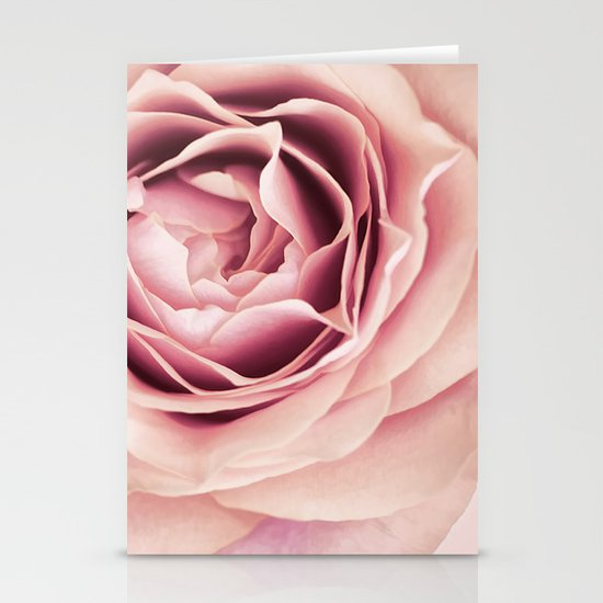 My Heart is Safe with You, My Friend - pale pink rose macro Stationery Card