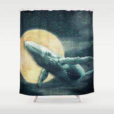 Fantasy Humpback Whale Flying to The Moon Shower Curtain