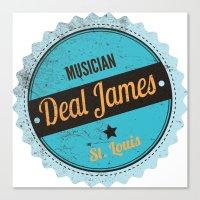 Deal James, Round Sticker Blue Canvas Print